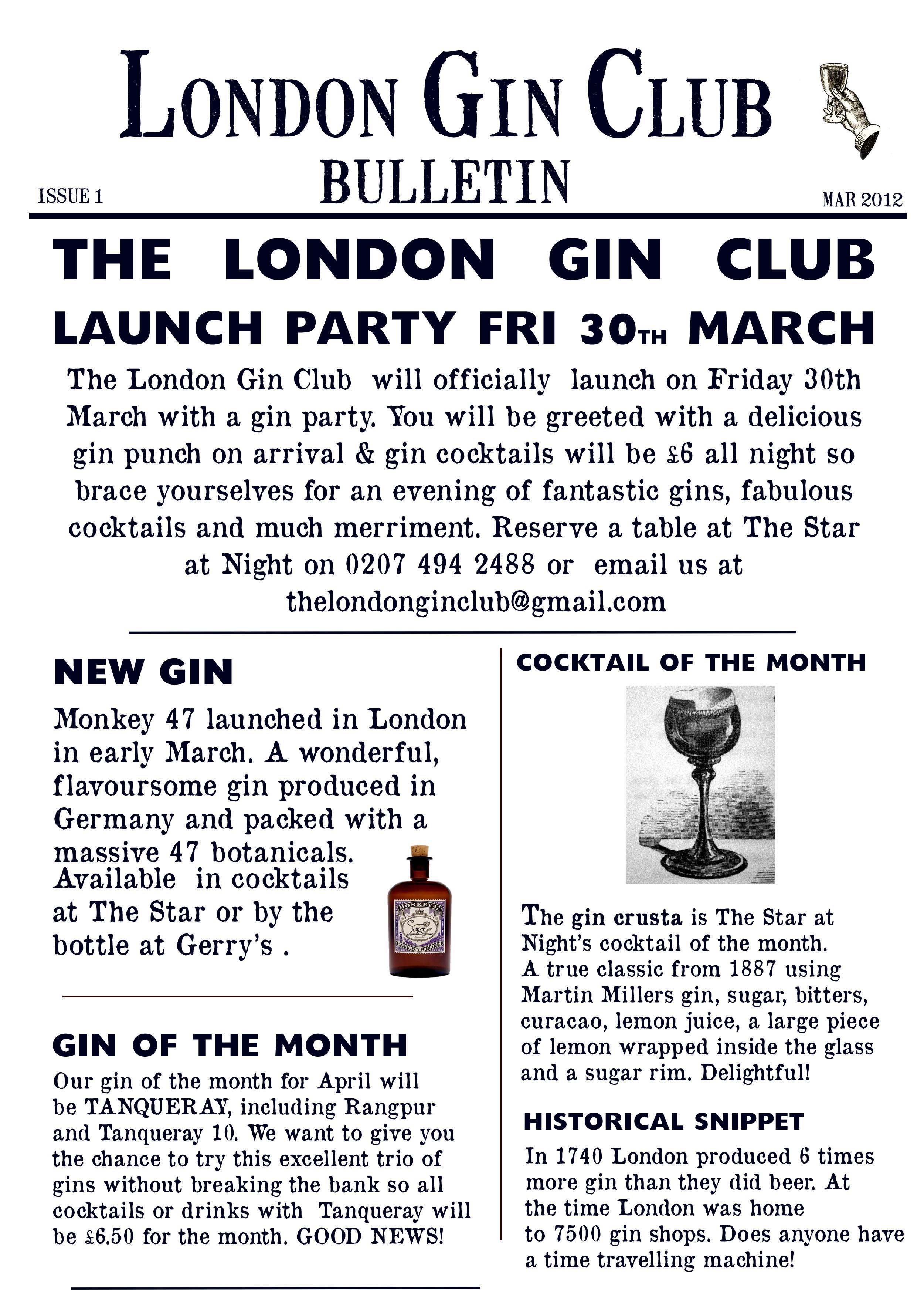 Our First London Gin Club Bulletinp News The London Gin Club