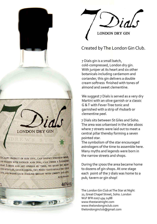 7 Dials gin…a London Gin Club gin